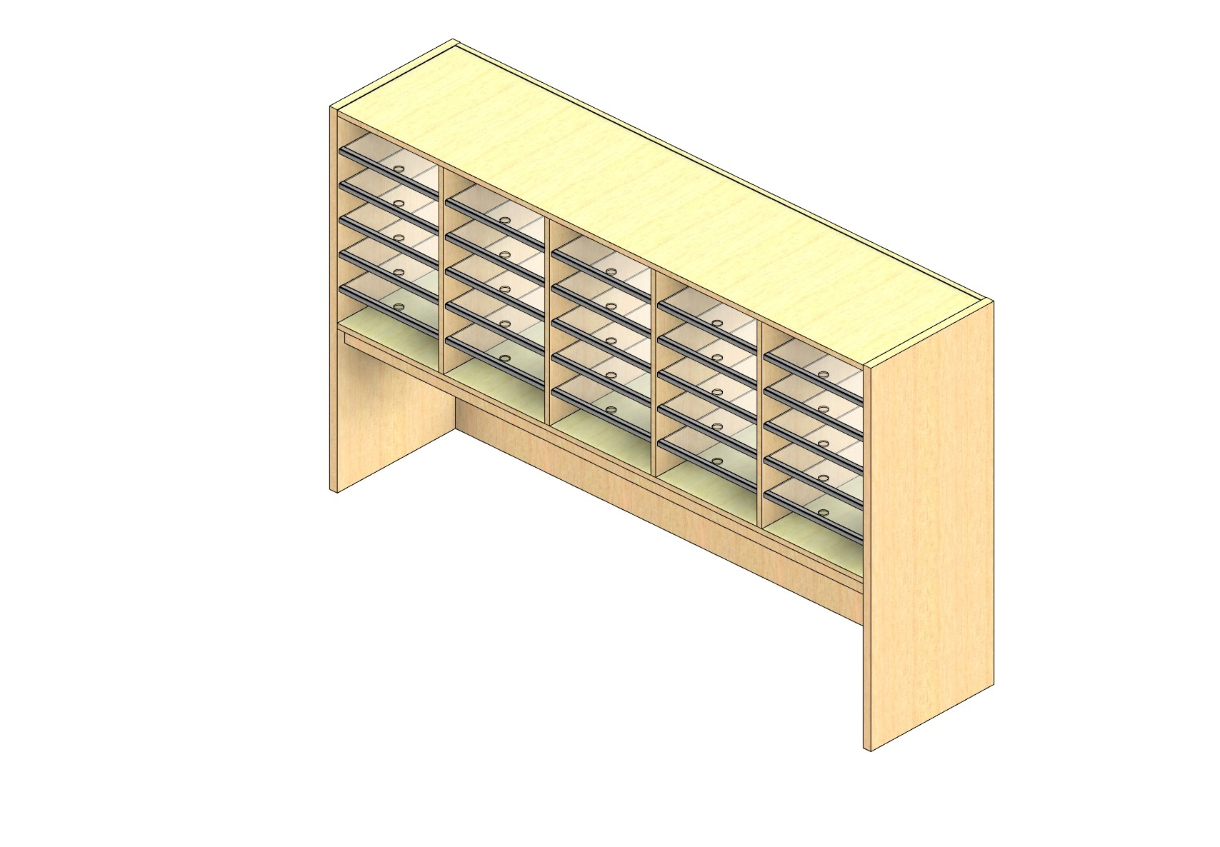 "Oversize Sized Open Back Sort Module - 5 Columns - 24"" Sorting Height w/ 18"" Riser"