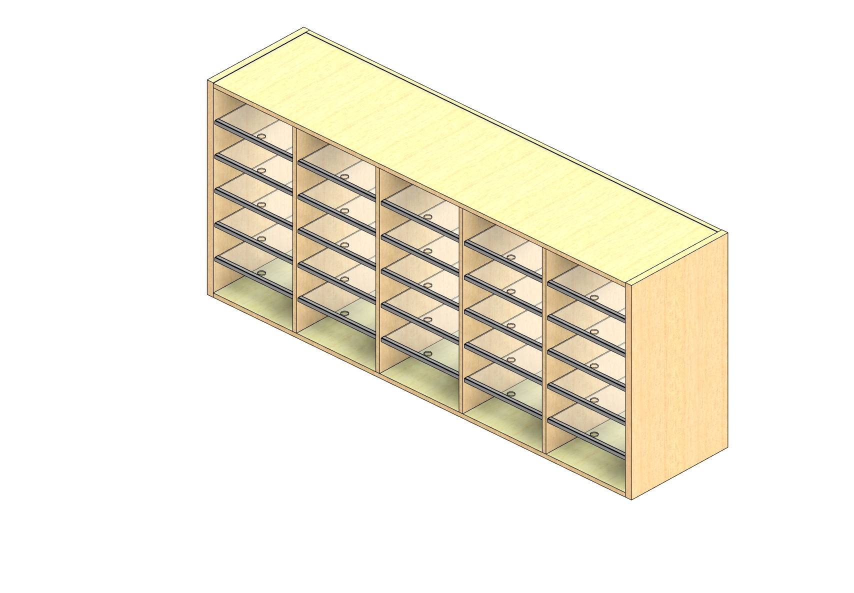 """Oversize Sized Closed Back Sort Module - 5 Columns - 30"""" Sorting Height w/ No Riser"""