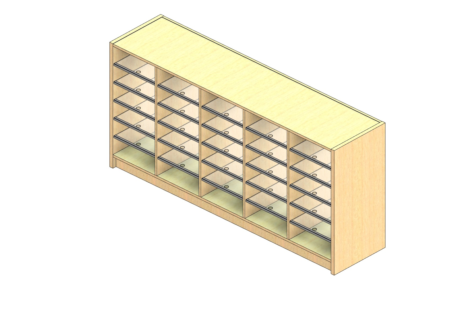 """Oversize Sized Closed Back Sort Module - 5 Columns - 30"""" Sorting Height w/ 3"""" Riser"""