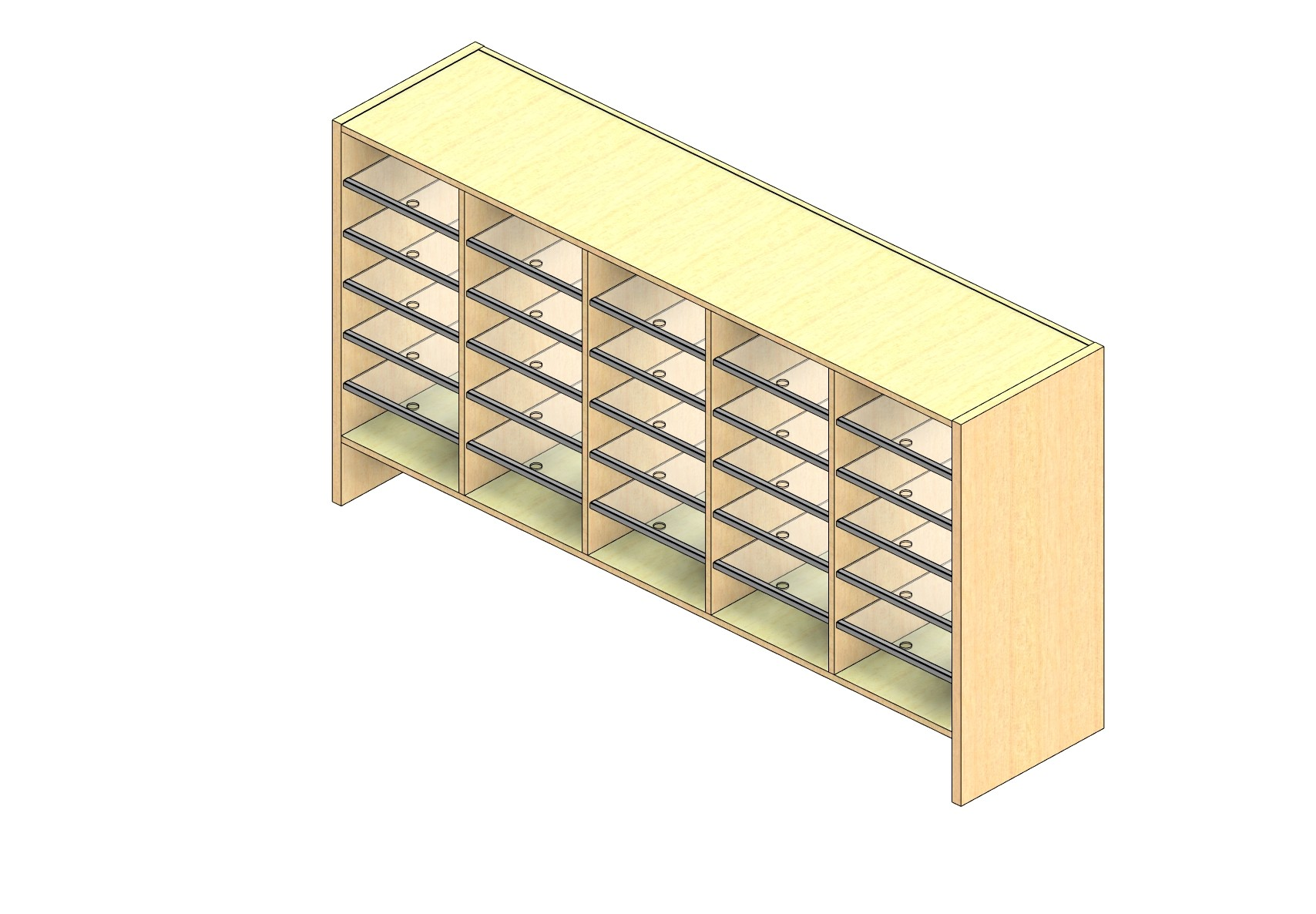 """Oversize Sized Closed Back Sort Module - 5 Columns - 30"""" Sorting Height w/ 6"""" Riser"""