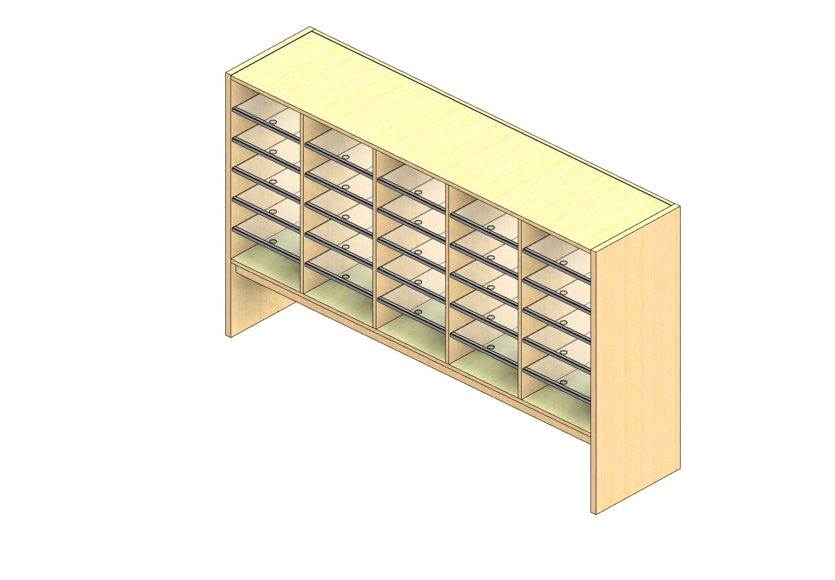 """Oversize Sized Closed Back Sort Module - 5 Columns - 30"""" Sorting Height w/ 12"""" Riser"""