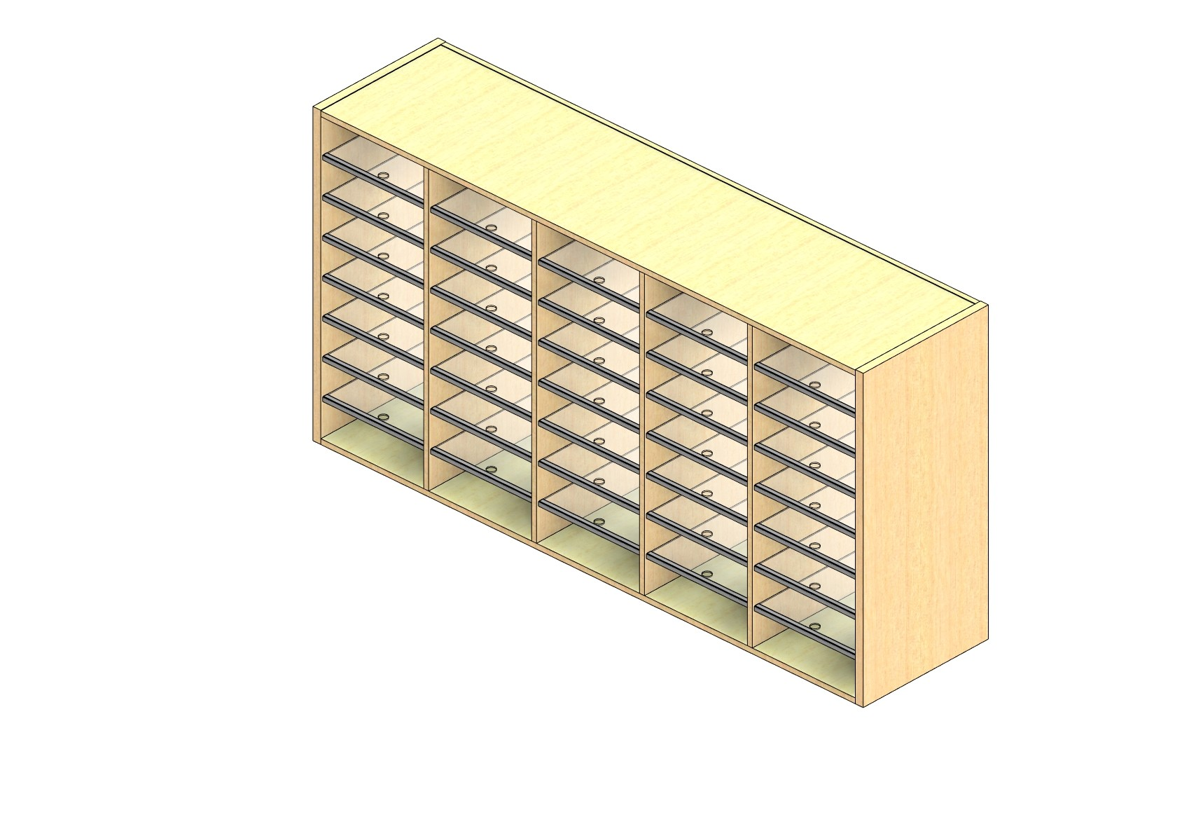 """Oversize Sized Closed Back Sort Module - 5 Columns - 36"""" Sorting Height w/ No Riser"""