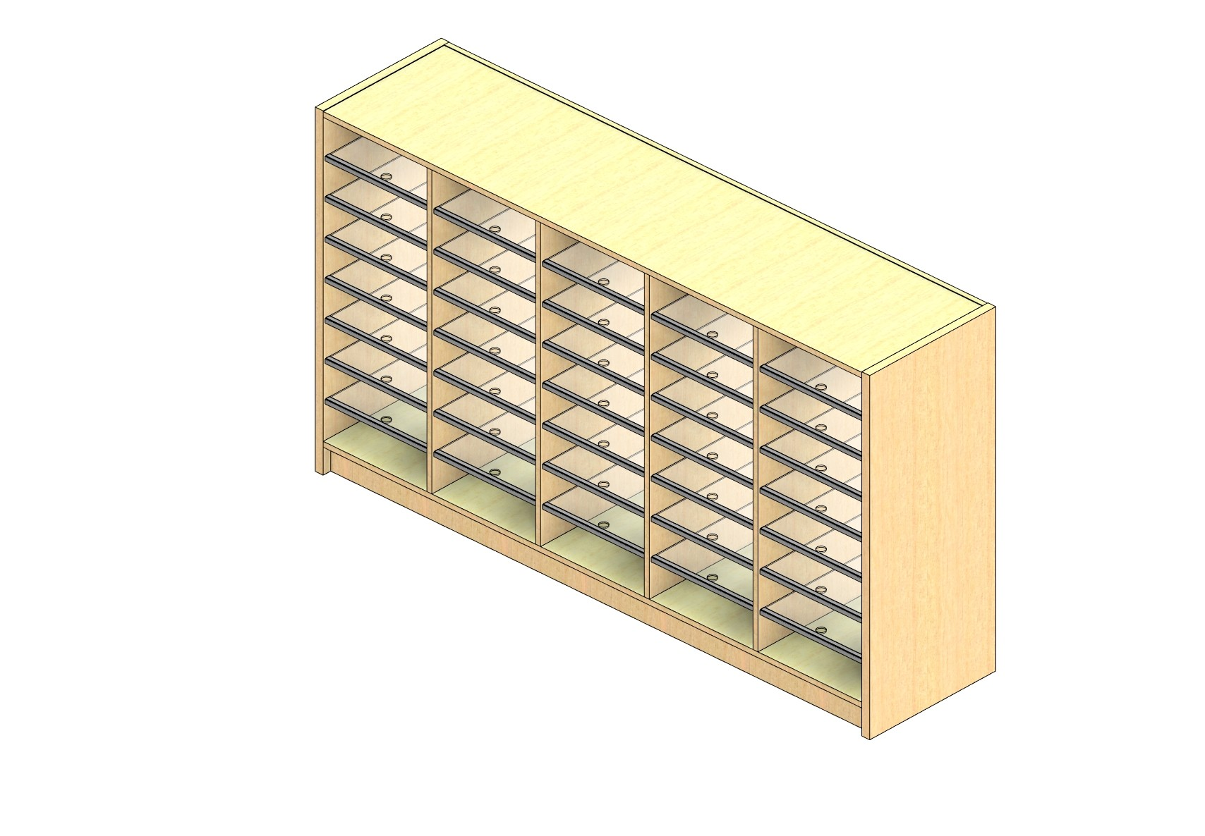 """Oversize Sized Closed Back Sort Module - 5 Columns - 36"""" Sorting Height w/ 3"""" Riser"""