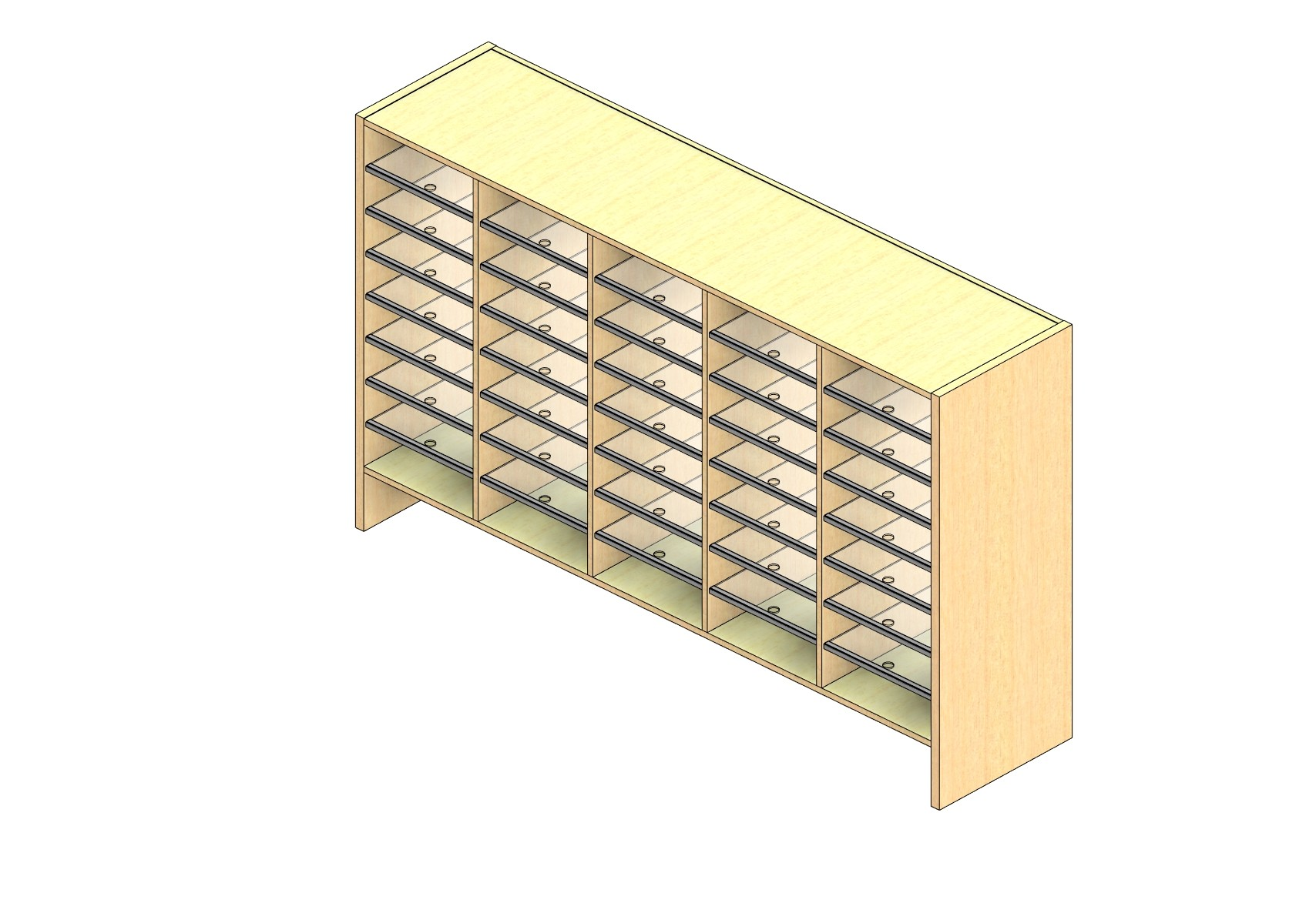 """Oversize Sized Closed Back Sort Module - 5 Columns - 36"""" Sorting Height w/ 6"""" Riser"""