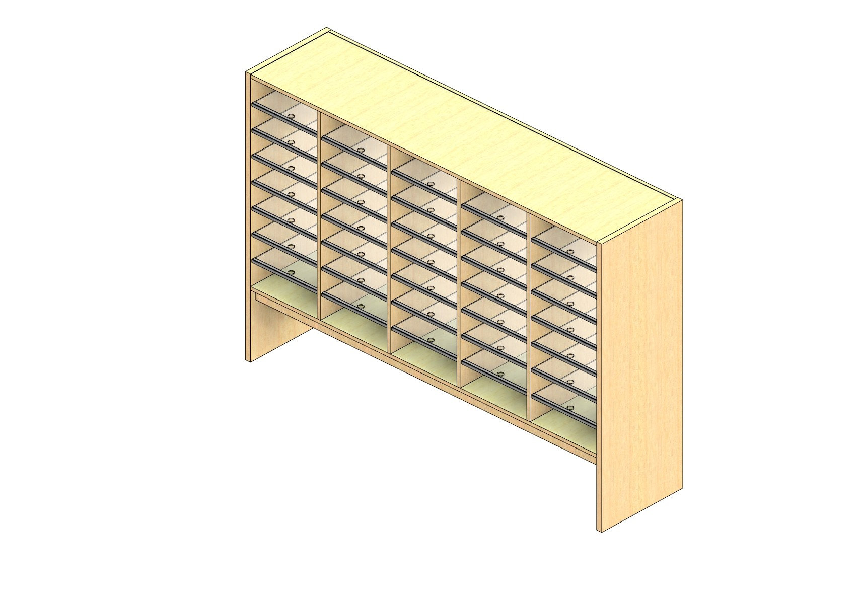 """Oversize Sized Closed Back Sort Module - 5 Columns - 36"""" Sorting Height w/ 12"""" Riser"""