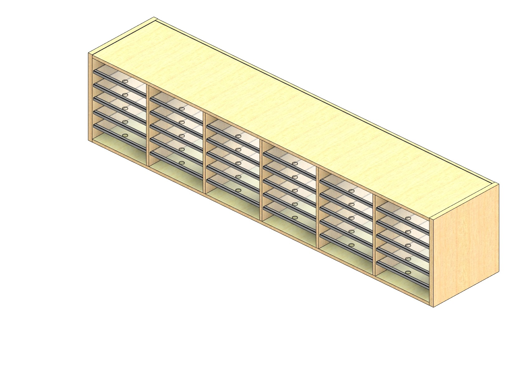 """Oversize Sized Closed Back Sort Module - 6 Columns - 18"""" Sorting Height w/ No Riser"""