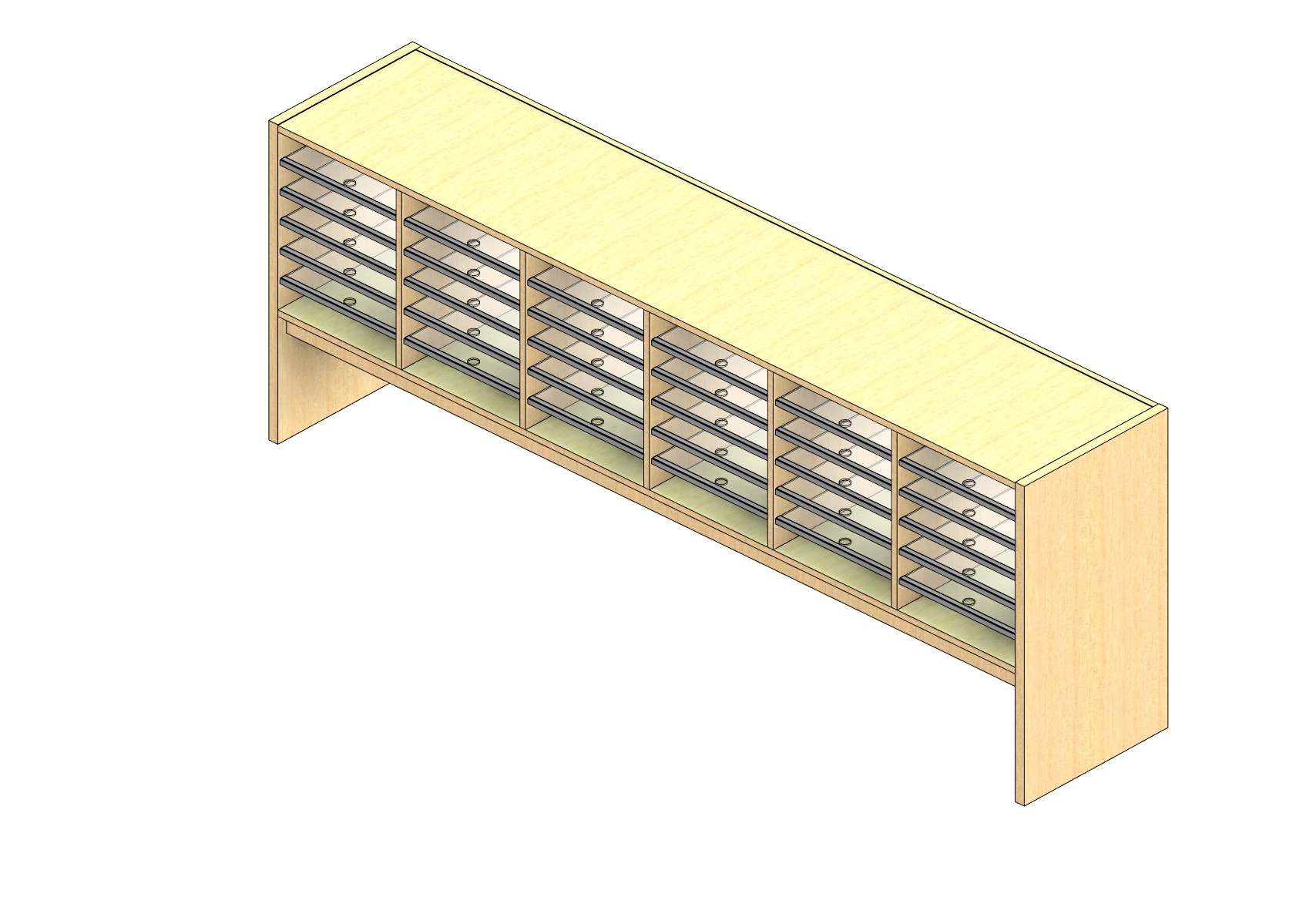 """Oversize Sized Closed Back Sort Module - 6 Columns - 18"""" Sorting Height w/ 12"""" Riser"""