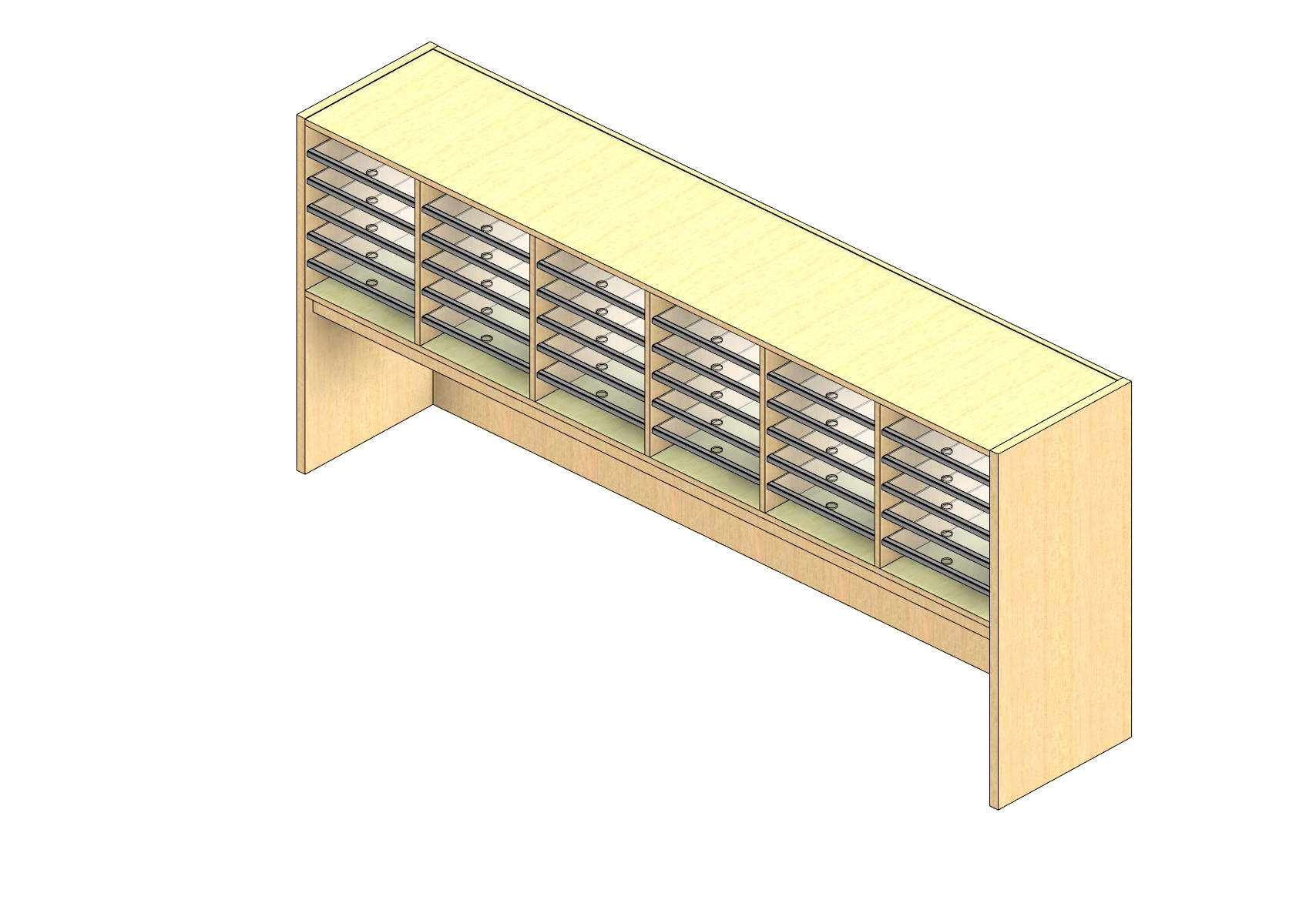 """Oversize Sized Closed Back Sort Module - 6 Columns - 18"""" Sorting Height w/ 18"""" Riser"""