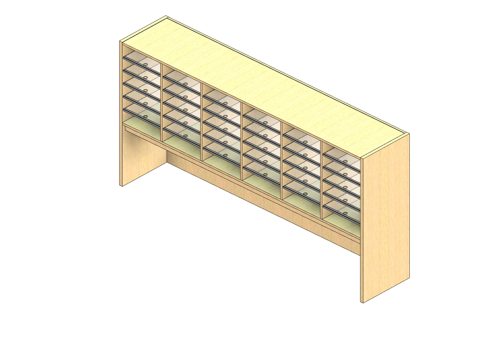 """Oversize Sized Closed Back Sort Module - 6 Columns - 24"""" Sorting Height w/ 18"""" Riser"""