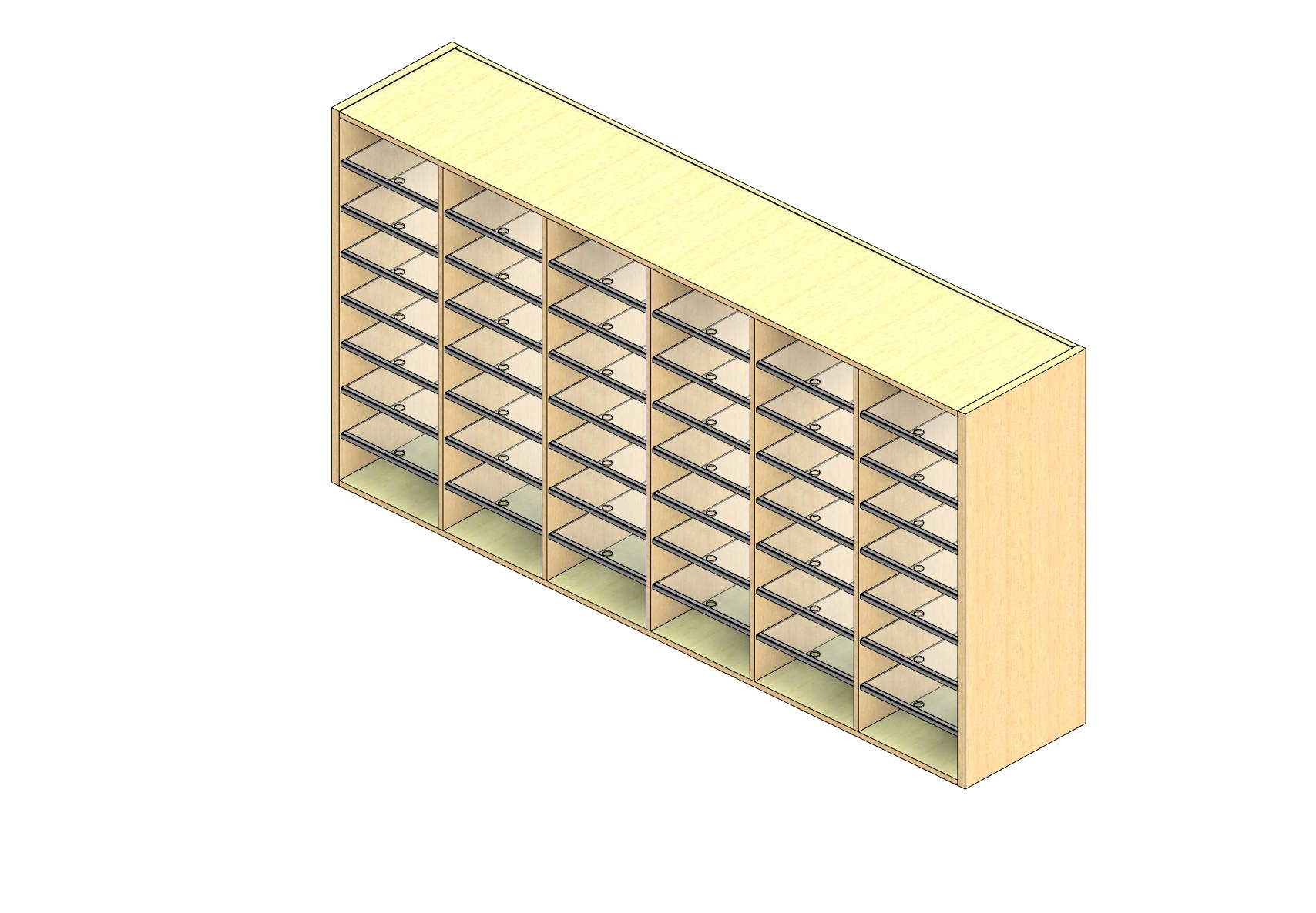 """Oversize Sized Closed Back Sort Module - 6 Columns - 42"""" Sorting Height w/ No Riser"""