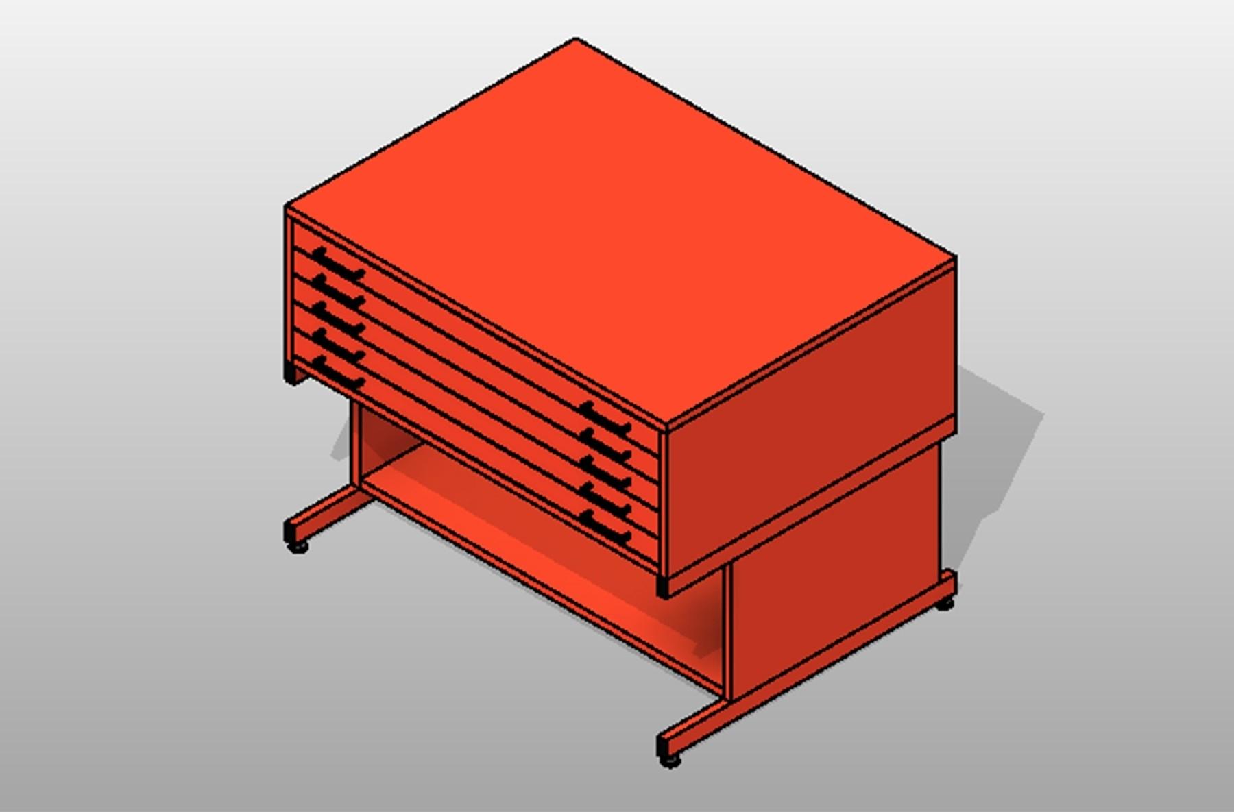 Powder Coated Steel Flat Drawers Blueprint Storage High Base 5 Shelves Large
