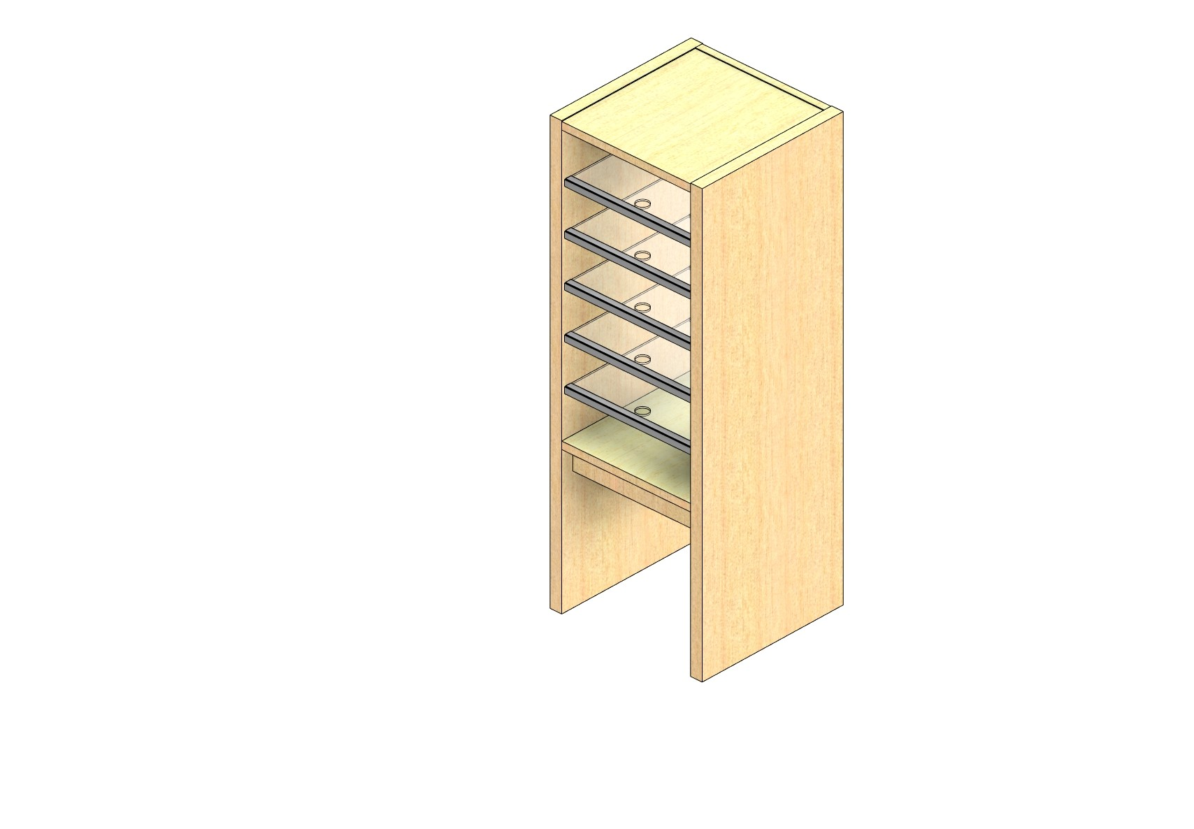 "Standard Sized Closed Back Sort Module - 1 Column - 24"" Sorting Height w/ 12"" Riser"