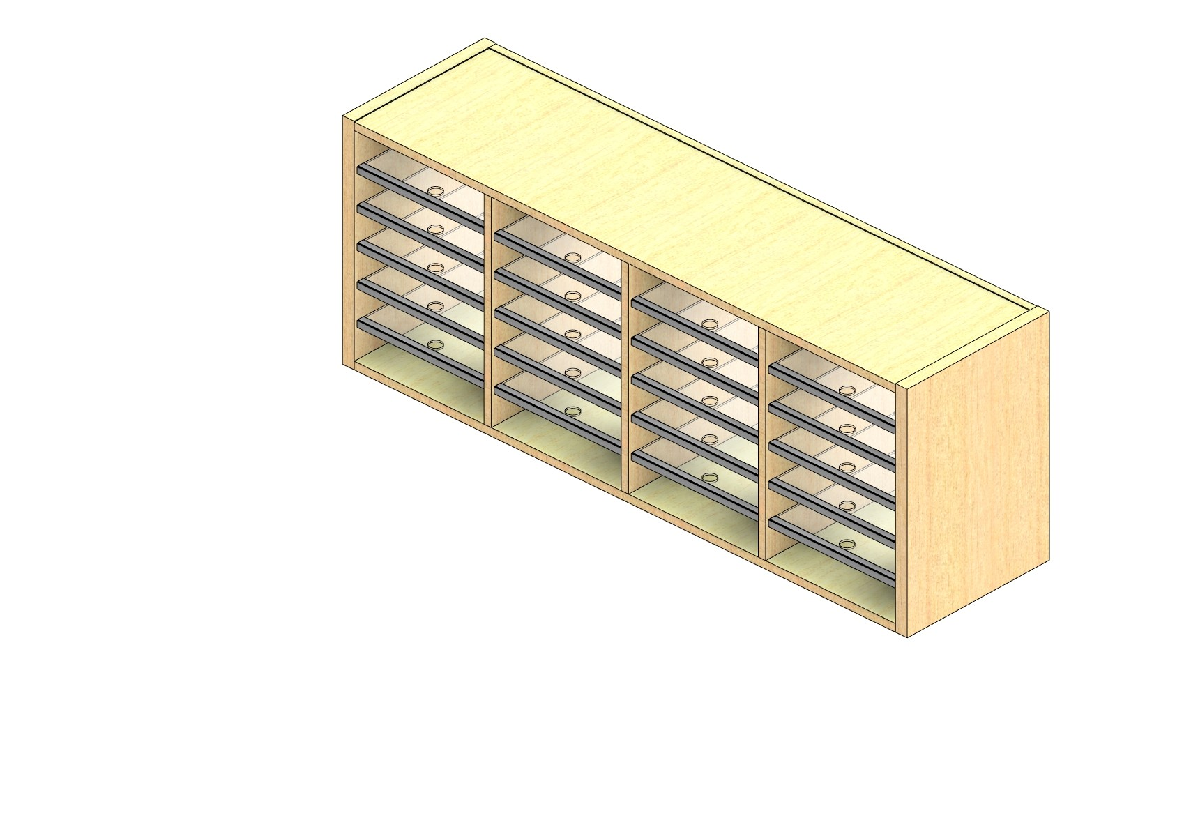 "Standard Sized Open Back Sort Module - 4 Columns - 18"" Sorting Height w/ No Riser"