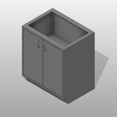 2 Door SST Base Cabinet 1 Adjustable Shelf Small