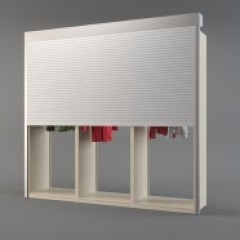3 Unit 4 Post Roll-Down Top-Mounted Security Shutter PCS Garment Racks Small