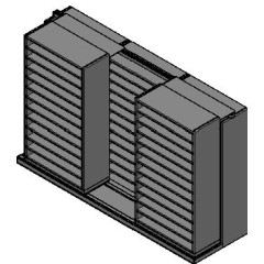 "Bin Size Sliding Shelves - 2 Rows Deep - 12 Levels - (42"" x 18"" Shelves) - 130"" Total Width"
