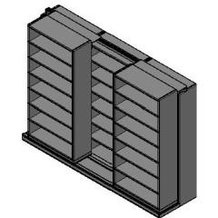 "Box Size Sliding Shelves - 2 Rows Deep - 7 Levels - (42"" x 16"" Shelves) - 130"" Total Width"