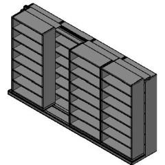 "Box Size Sliding Shelves - 2 Rows Deep - 7 Levels - (42"" x 16"" Shelves) - 172"" Total Width"