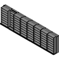 "Box Size Sliding Shelves - 2 Rows Deep - 7 Levels - (42"" x 16"" Shelves) - 340"" Total Width"