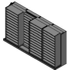 "Bin Size Sliding Shelves - 2 Rows Deep - 12 Levels - (36"" x 15"" Shelves) - 148"" Total Width"