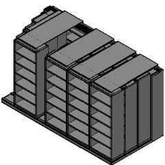 "Box Size Sliding Shelves - 4 Rows Deep - 6 Levels - (30"" x 16"" Shelves) - 154"" Total Width"