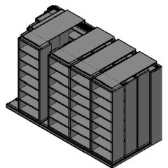 "Box Size Sliding Shelves - 4 Rows Deep - 7 Levels - (30"" x 16"" Shelves) - 154"" Total Width"