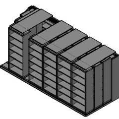 "Box Size Sliding Shelves - 4 Rows Deep - 6 Levels - (30"" x 16"" Shelves) - 184"" Total Width"