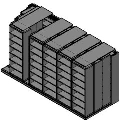 "Box Size Sliding Shelves - 4 Rows Deep - 7 Levels - (30"" x 16"" Shelves) - 184"" Total Width"