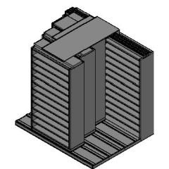 "Bin Size Sliding Shelves - 4 Rows Deep - 12 Levels - (42"" x 15"" Shelves) - 88"" Total Width"