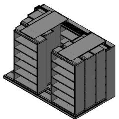 "Box Size Sliding Shelves - 4 Rows Deep - 6 Levels - (42"" x 16"" Shelves) - 130"" Total Width"