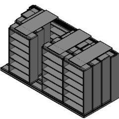 "Box Size Sliding Shelves - 4 Rows Deep - 6 Levels - (42"" x 16"" Shelves) - 172"" Total Width"
