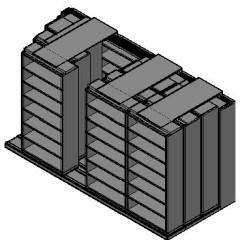"Box Size Sliding Shelves - 4 Rows Deep - 7 Levels - (42"" x 16"" Shelves) - 172"" Total Width"