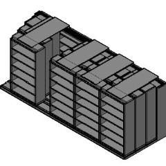 "Box Size Sliding Shelves - 4 Rows Deep - 6 Levels - (42"" x 16"" Shelves) - 214"" Total Width"