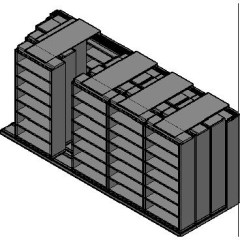 "Box Size Sliding Shelves - 4 Rows Deep - 7 Levels - (42"" x 16"" Shelves) - 214"" Total Width"