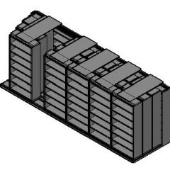 "Box Size Sliding Shelves - 4 Rows Deep - 7 Levels - (42"" x 16"" Shelves) - 256"" Total Width"
