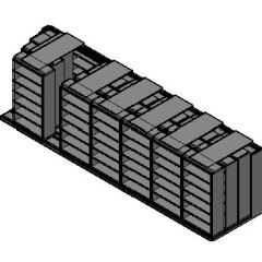 "Box Size Sliding Shelves - 4 Rows Deep - 6 Levels - (42"" x 16"" Shelves) - 298"" Total Width"