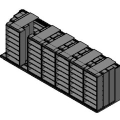 "Box Size Sliding Shelves - 4 Rows Deep - 7 Levels - (42"" x 16"" Shelves) - 298"" Total Width"