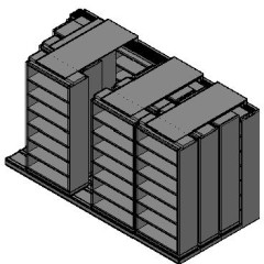 "Legal Size Sliding Shelves - 4 Rows Deep - 7 Levels - (36"" x 15"" Shelves) - 148"" Total Width"