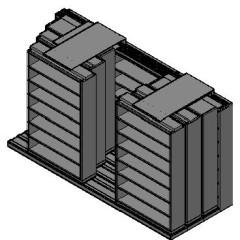 "Letter Size Sliding Shelves - 4 Rows Deep - 7 Levels - (48"" x 12"" Shelves) - 148"" Total Width"