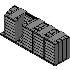 "Legal Size Sliding Shelves - 4 Rows Deep - 7 Levels - (48"" x 15"" Shelves) - 244"" Total Width"