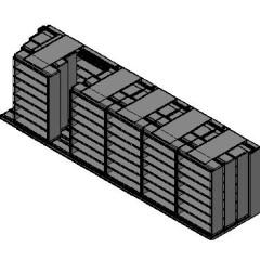 "Legal Size Sliding Shelves - 4 Rows Deep - 7 Levels - (48"" x 15"" Shelves) - 292"" Total Width"