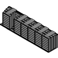 "Legal Size Sliding Shelves - 4 Rows Deep - 7 Levels - (48"" x 15"" Shelves) - 340"" Total Width"