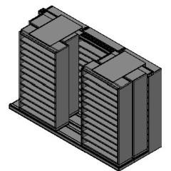 "Bin Size Sliding Shelves - 3 Rows Deep - 12 Levels - (42"" x 15"" Shelves) - 130"" Total Width"