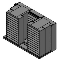 "Bin Size Sliding Shelves - 3 Rows Deep - 12 Levels - (42"" x 18"" Shelves) - 130"" Total Width"