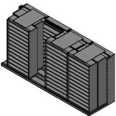 "Bin Size Sliding Shelves - 3 Rows Deep - 12 Levels - (42"" x 15"" Shelves) - 172"" Total Width"