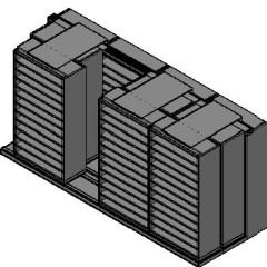 "Bin Size Sliding Shelves - 3 Rows Deep - 12 Levels - (42"" x 18"" Shelves) - 172"" Total Width"