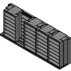 "Letter Size Sliding Shelves - 3 Rows Deep - 7 Levels - (42"" x 12"" Shelves) - 214"" Total Width"