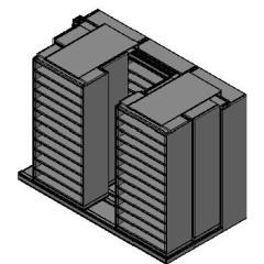 "Bin Size Sliding Shelves - 3 Rows Deep - 12 Levels - (36"" x 18"" Shelves) - 112"" Total Width"