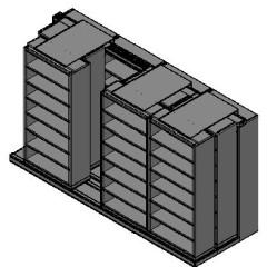 "Legal Size Sliding Shelves - 3 Rows Deep - 7 Levels - (36"" x 15"" Shelves) - 148"" Total Width"
