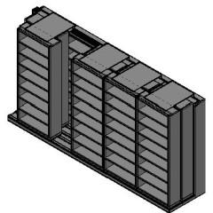"Letter Size Sliding Shelves - 3 Rows Deep - 8 Levels - (36"" x 12"" Shelves) - 184"" Total Width"